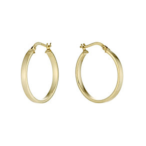 Together Bonded Silver & 9ct Gold Square Cut Creole Earring - Product number 9690883