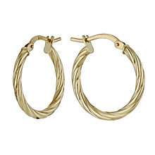 Together Silver & 9ct Yellow Gold Twist Creole Earrings - Product number 9690891