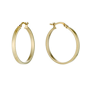 Together Bonded Silver & 9ct Gold 30mm Creole Hoop Earrings - Product number 9690905
