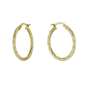 Together Bonded Silver & 9ct Gold 20mm Twist Creole Earrings - Product number 9690913