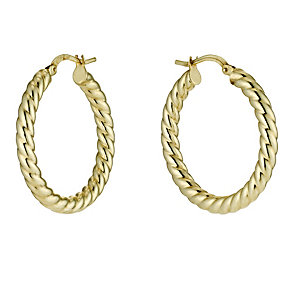 Together Bonded Silver & 9ct Gold Twist Creole Earrings - Product number 9690921