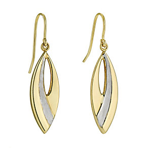 Together Bonded Silver & 9ct Yellow Gold Drop Earrings - Product number 9690948