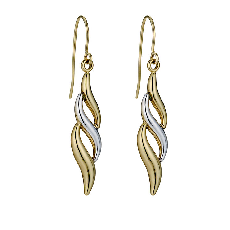 Together Bonded Silver & 9ct Yellow Gold Flame Drop Earrings - Product number 9690980