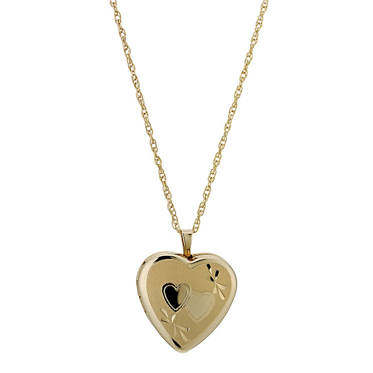 Together Bonded Silver & 9ct Gold Double Heart Locket