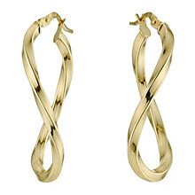 Together Bonded Silver & 9ct Gold Twist Creole Earrings - Product number 9691073