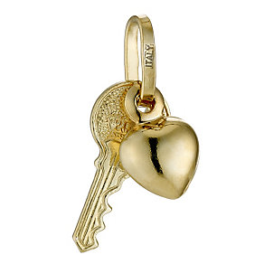 Together Bonded Silver & 9ct Gold Key & Heart Charm - Product number 9691146