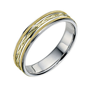 Bonded Silver & 9ct Yellow Gold 5mm Patterned Grooms Ring - Product number 9692258