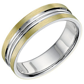 Bonded Silver & 9ct Gold 6mm Men's Band - Product number 9692541