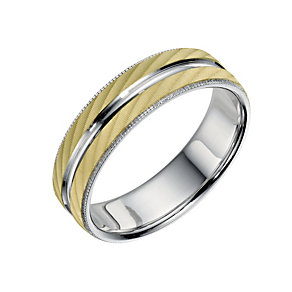 Bonded Silver & 9ct Yellow Gold 6mm Patterned Grooms Ring - Product number 9692762