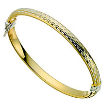 Together Bonded Silver & Gold Diamond Cut Bangle - Product number 9694188