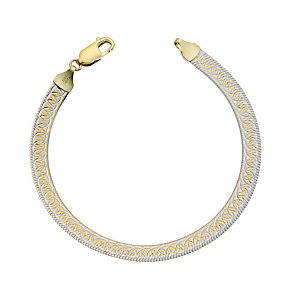 Together Bonded Silver & 9ct Gold Swirl Herringbone Bracelet - Product number 9694218