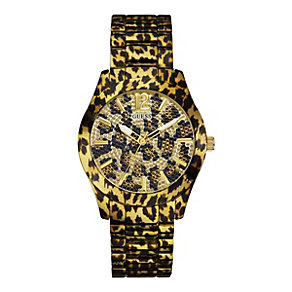 Guess Ladies' Animal Print Stone Set Bracelet Watch - Product number 9694552