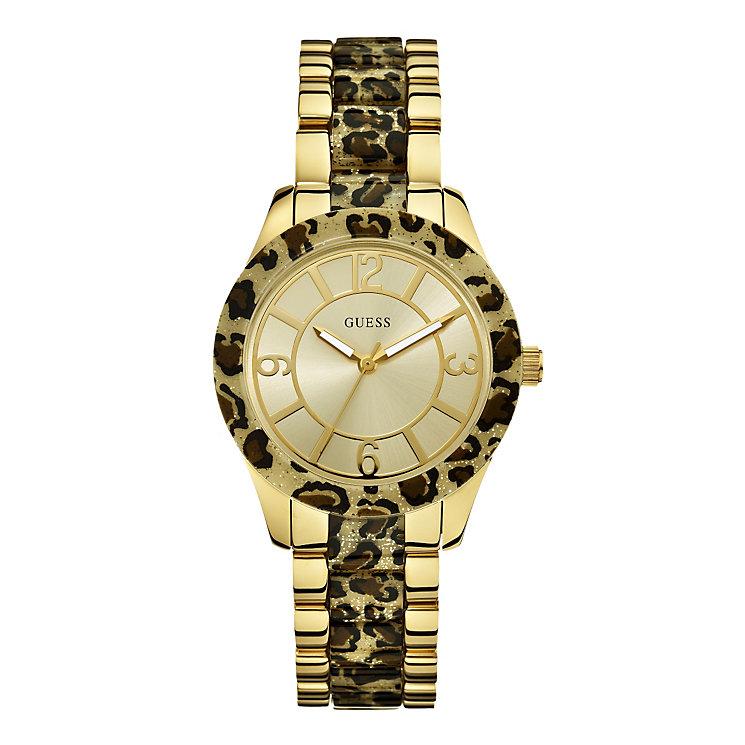 Guess Ladies' Leopard Print Sparkle Dial Bracelet Watch - Product number 9694668