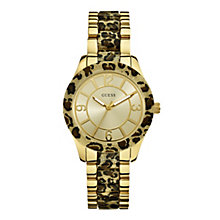 Guess Ladies' Leopard Print Sparkle Dial Bracelet Watch - Product number 9694668