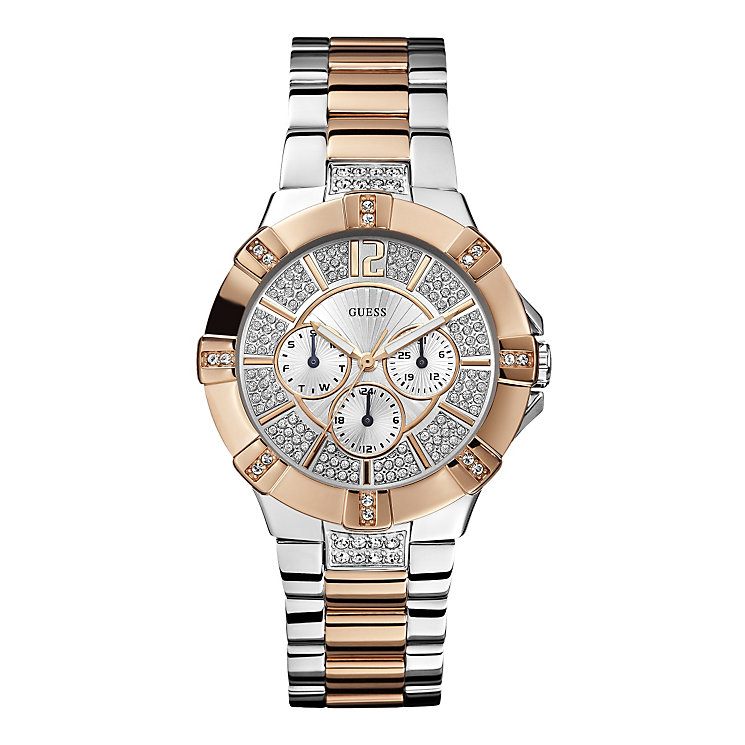 guess ladies rose gold plated bracelet watch hsamuel