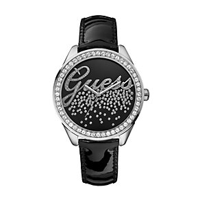 Guess Ladies' Black Stone Set Dial Leather Strap Watch - Product number 9695583
