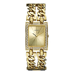 Guess Ladies' Crystal Champagne Dial Bracelet Watch - Product number 9695591