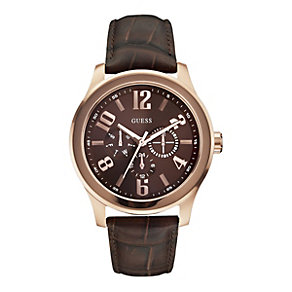 Guess Men's Rose Gold Plated Brown Leather Strap Watch - Product number 9695672
