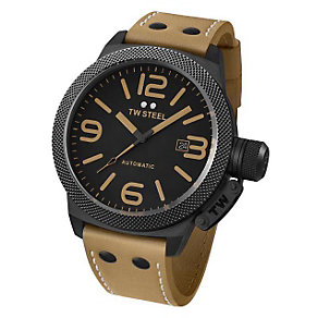 TW Steel men's automatic black ion plated tan strap watch - Product number 9696881