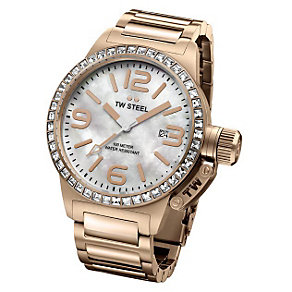 TW Steel ladies' rose gold plated stone set bracelet watch - Product number 9696962