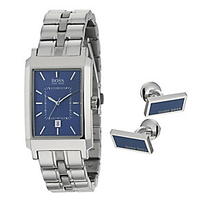Hugo Boss men's stainless steel watch & cufflink set - Product number 9697950