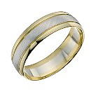 9ct gold two colour 6mm matt and polished ring - Product number 9700234