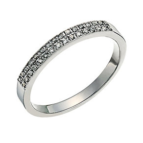 9ct white gold diamond set half eternity ring - Product number 9700463