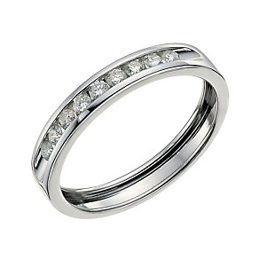 9ct white gold quarter carat diamond channel set ring. - Product number 9700609