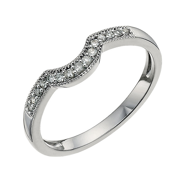18ct white gold diamond set U shaped ring - Product number 9701850
