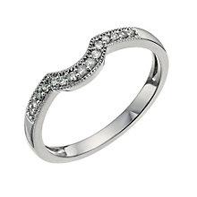 18ct white gold diamond set U shaped ring - Product number 9701850