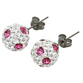 Tresor Paris Palings 8mm pink & white crystal stud earrings - Product number 9704051