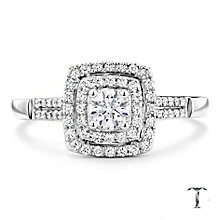 Tolkowsky 18ct white gold 0.50ct I-I1 diamond halo ring - Product number 9708677