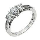 18 carat white gold 1 carat triple diamond ring - Product number 9708804
