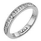 18ct white gold third carat baguette & round diamond ring - Product number 9709762