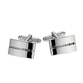 Black Tonal Crystal Groove Cufflinks - Product number 9716866
