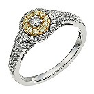 18 carat white & yellow gold plated 1/2 carat halo ring - Product number 9717544