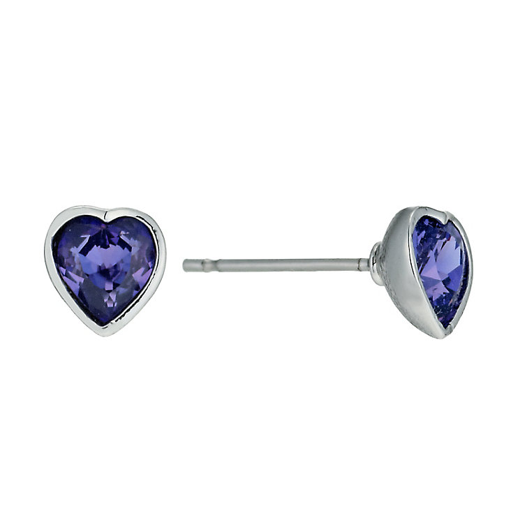 Radiance With Purple Swarovski Crystal Heart Stud Earrings - Product number 9725113