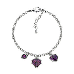 Radiance With Purple Swarovski Crystal Heart Charm Bracelet - Product number 9725148
