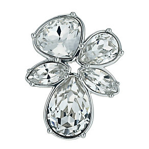 Radiance Rhodium Plated Crystal Flower Brooch - Product number 9725733