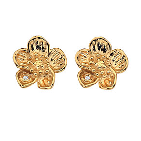 9ct yellow gold and sterling silver buttercup earrings - Product number 9727949
