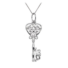 Hot Diamonds silver diamond filigree heart key pendant - Product number 9728066