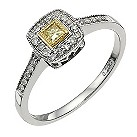 18 carat white & yellow gold 0.2 carat square diamond ring - Product number 9728899