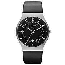 Skagen Men's Black Dial Black Leather Strap Watch - Product number 9732020