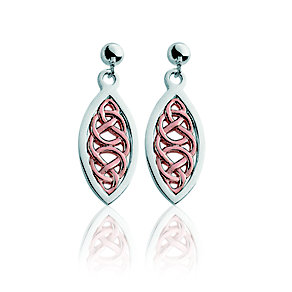 Clogau Silver & 9ct Rose Gold Welsh Royalty Earrings - Product number 9732160