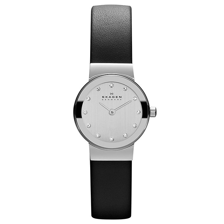 Skagen Ladies' White Dial Stone Set Black Strap Watch - Product number 9737448