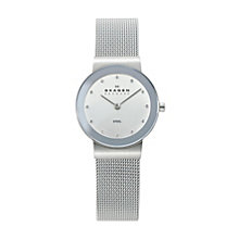 Skagen Ladies' White Dial Steel Mesh Bracelet Watch - Product number 9737464