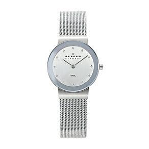 Skagen Ladies' White Dial Steel Mesh Bracelet Watch - Product number 9737464