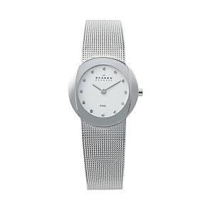 Skagen Ladies' Oval White Dial Steel Mesh Bracelet Watch - Product number 9737472