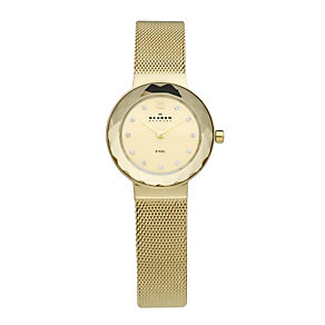 Skagen Ladies' Stone Set Gold Plated Mesh Bracelet Watch - Product number 9737502