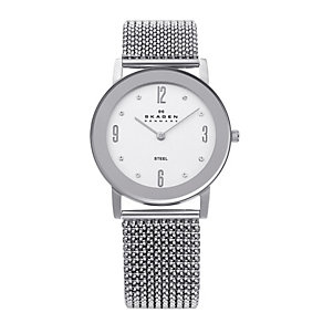 Skagen Ladies' White Dial Silver Stretch Bracelet Watch - Product number 9737596